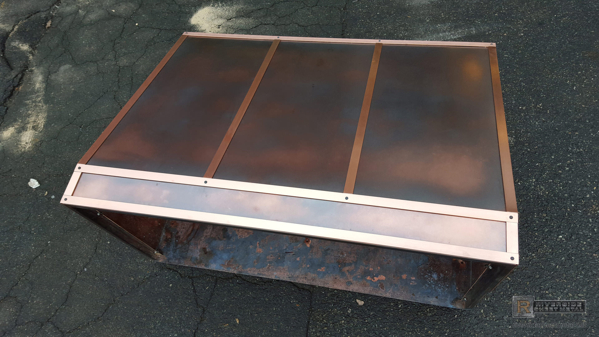 Copper Hood Vent Custom With Aged Patina And Polished Bandings