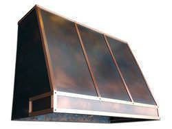 Copper hood vent custom made with aged patina and polished bandings