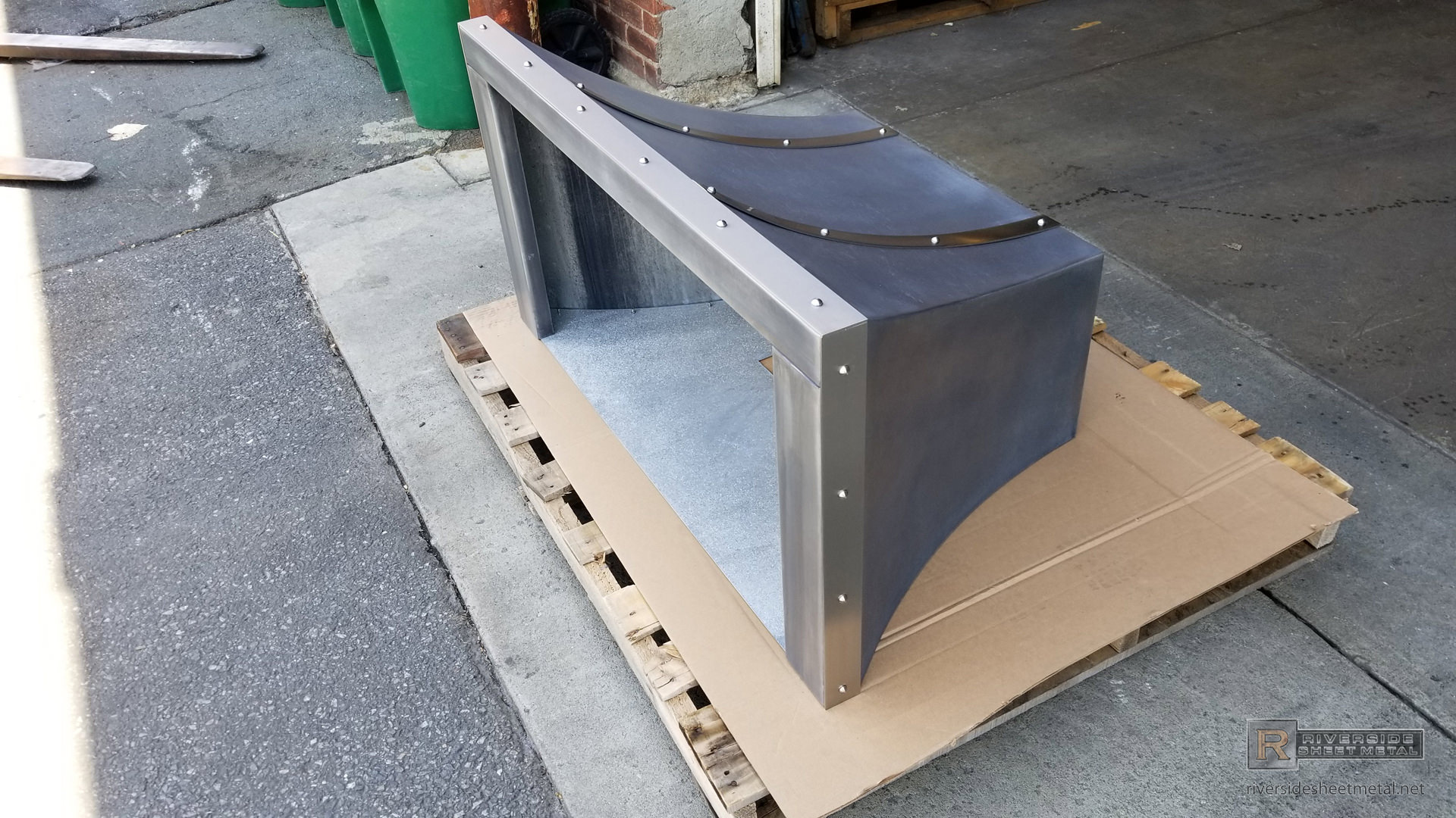 Curved Zinc Range Hood With Rivets Stainless Steel