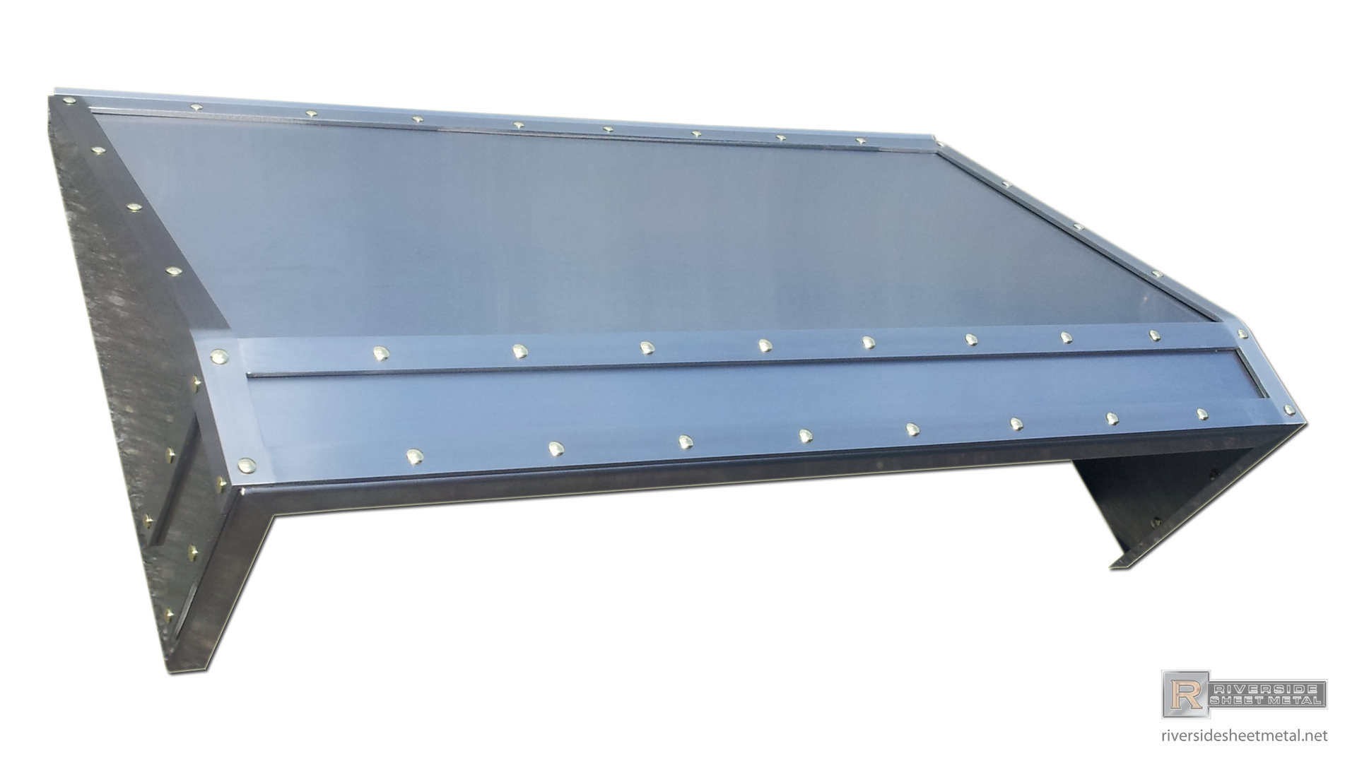 Stainless Steel Exhaust Hoods ~ Stainless steel custom hood vent with band and brass rivets