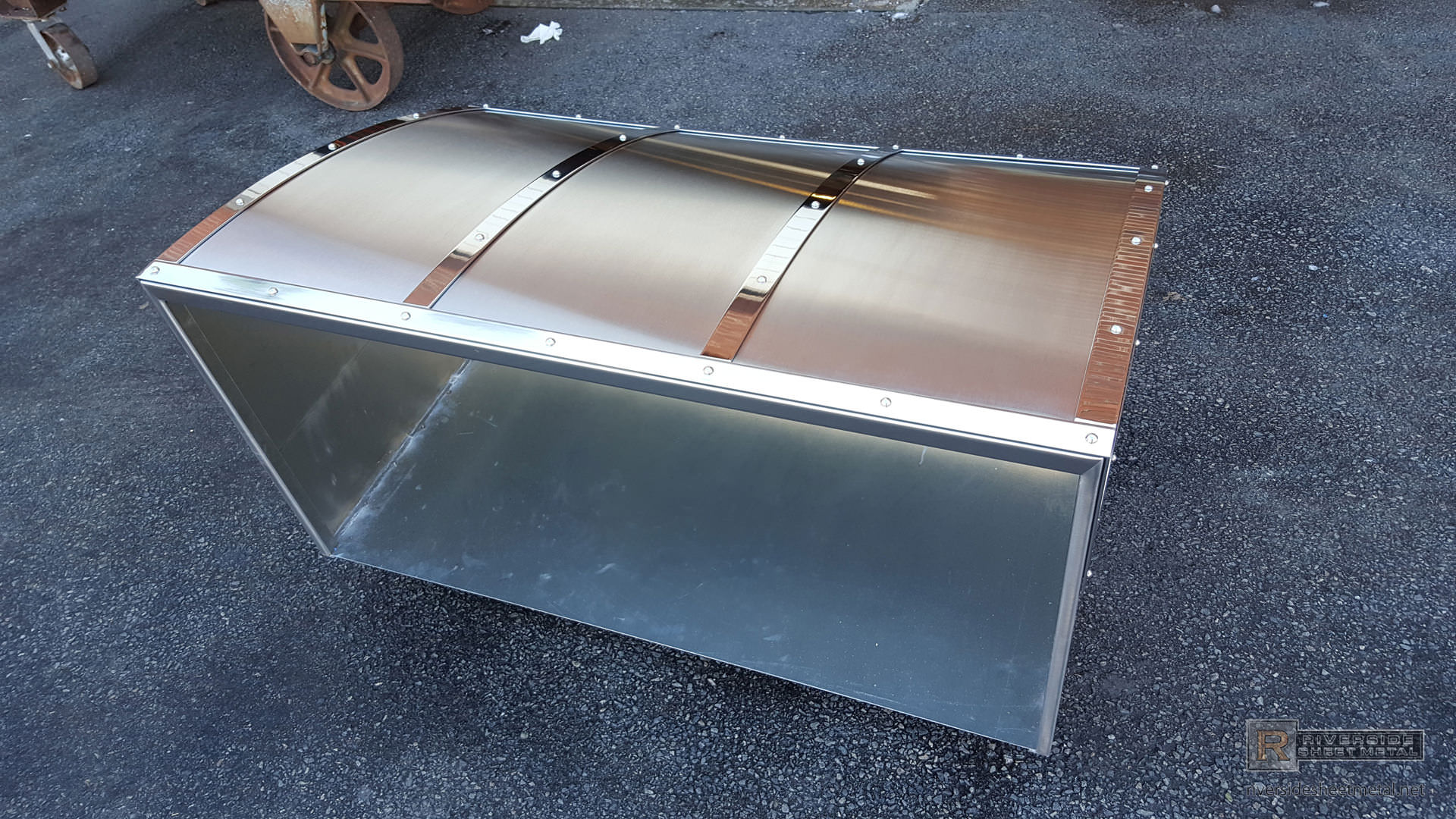 Custom Stainless Steel Hood Vent With Rivets And Polished