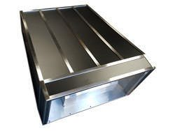 Custom hood vent powder coated black with stainless steel bands