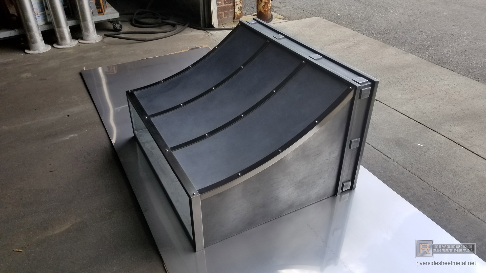 Dark Patina Kitchen Zinc Hood Vent With Stainless Steel