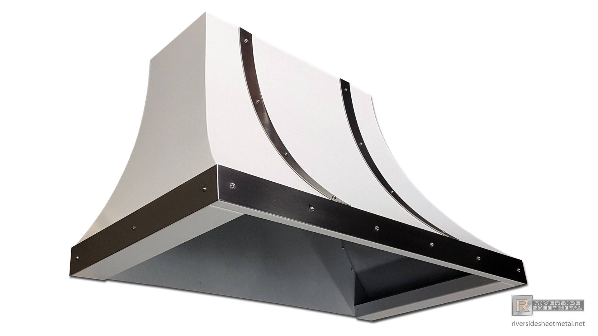 White steel hood vent with stainless bar and rivets