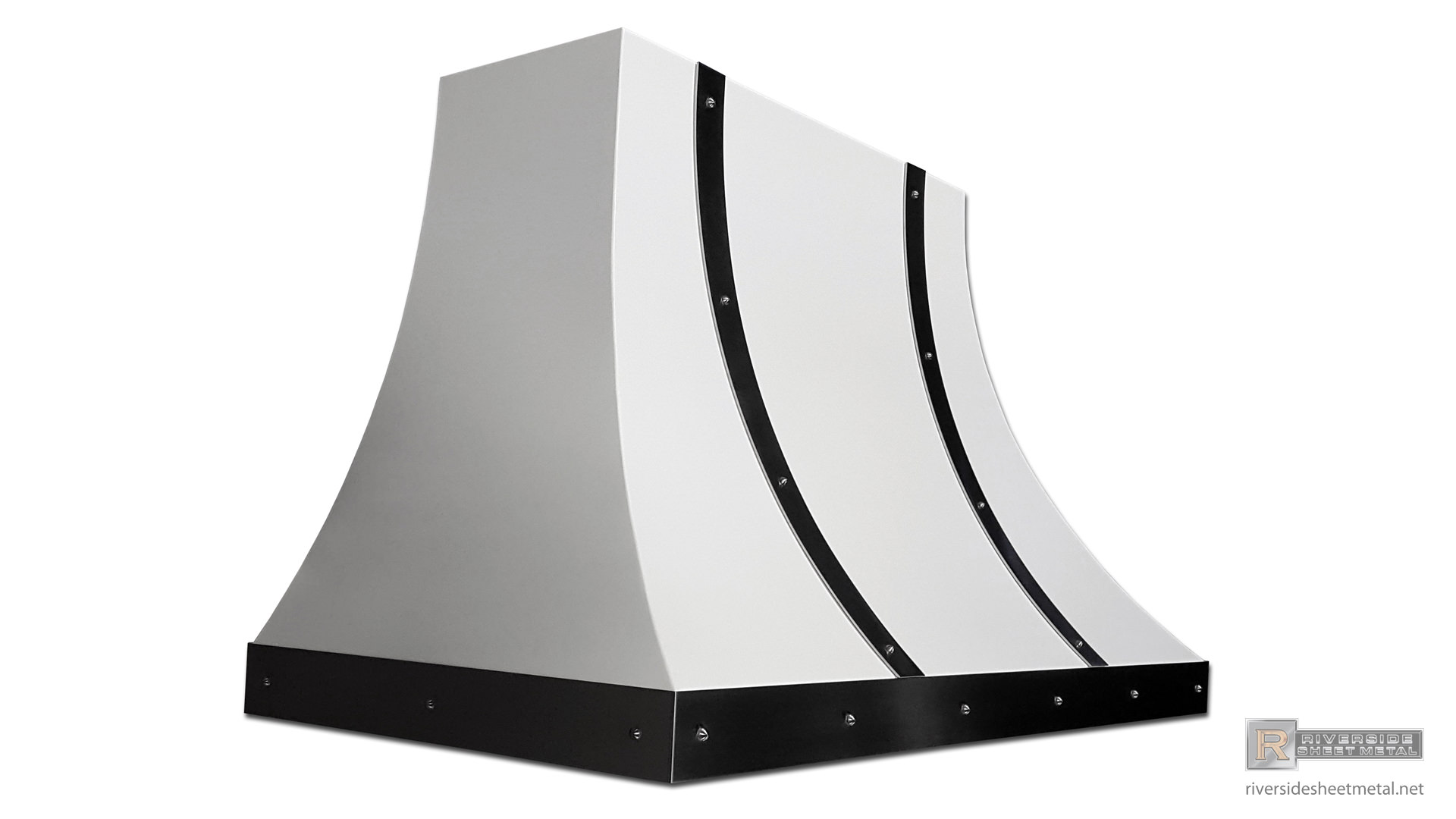White Steel Hood Vent With Stainless Steel Bar And Rivets