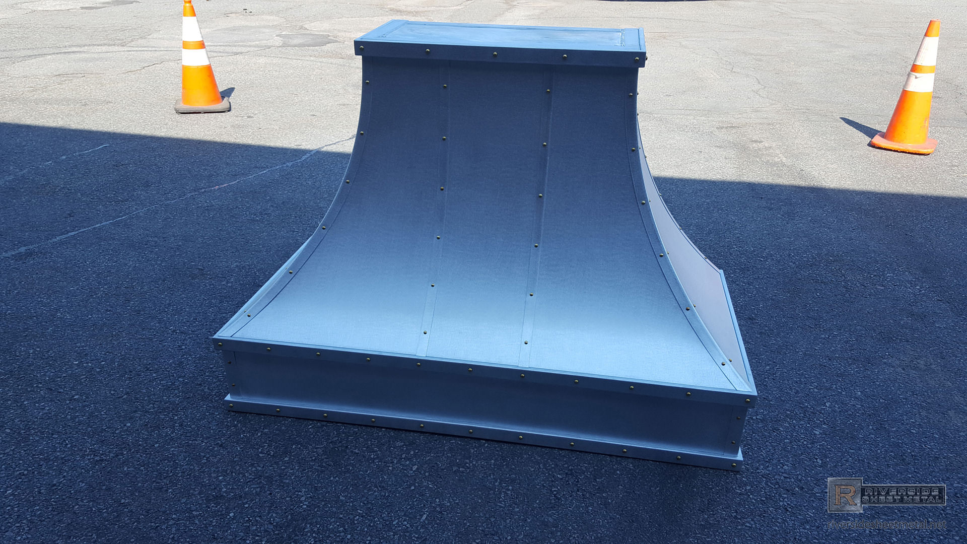 Zinc Hood Vent With Satin Finish And Brass Rivets Custom Made