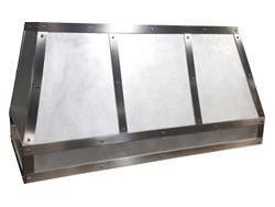 Zinc hood vent satin finished with stainless steel bars and rivets custom made to order