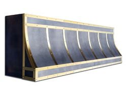 Zinc range hood vent with brushed brass bandings. Custom made to order. Dark patina applied