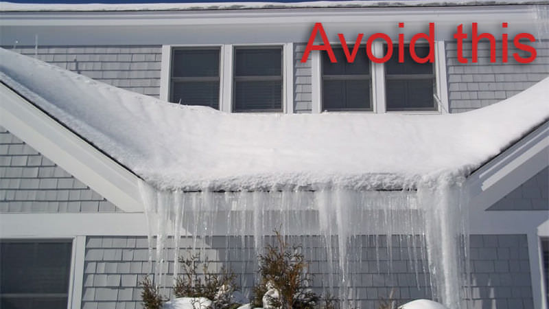 Dangerous ice dams that can be avoided with metal roofing
