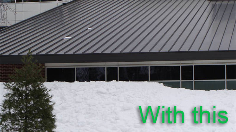 A metal roof showing no snow accumulated