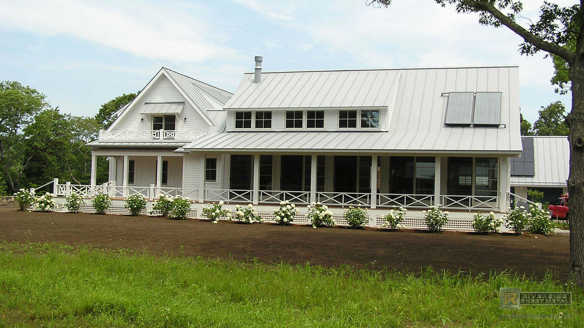 Angled Dove Gray Aluminum Roof With Cupola Metal Roofing