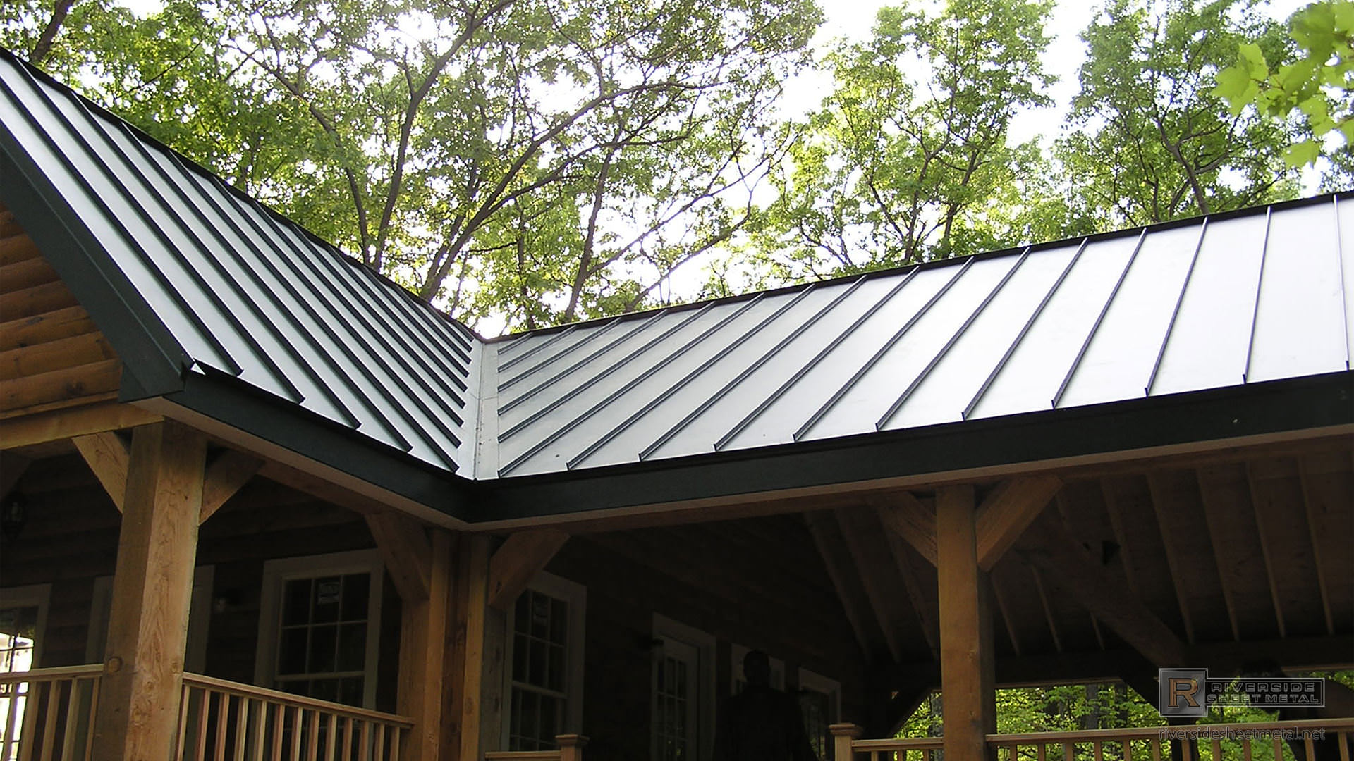 valley detail on a charcoal gray metal roofing
