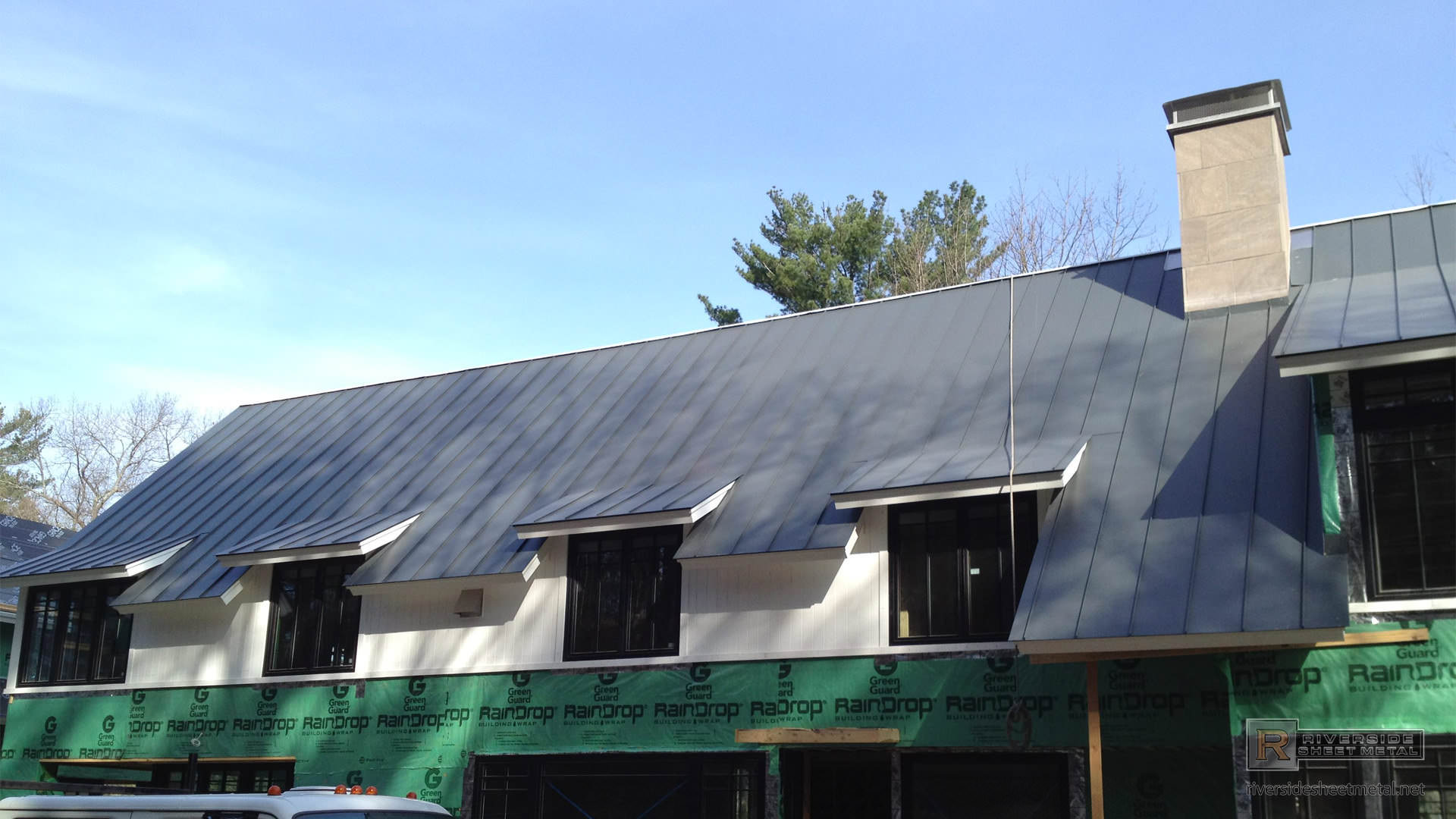 Aluminum metal roof gray with different angles - MA RI NH ME