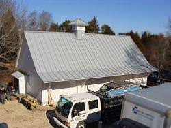 Angled gray aluminum roof