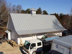 Angled gray aluminum roof