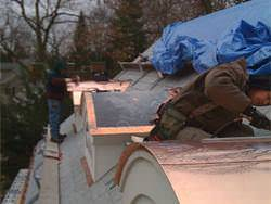 Installation of barrel roofing copper panels