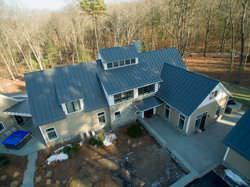 Charcoal gray aluminum standing seam-metal roof