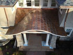 Flat lock copper panel roof installation