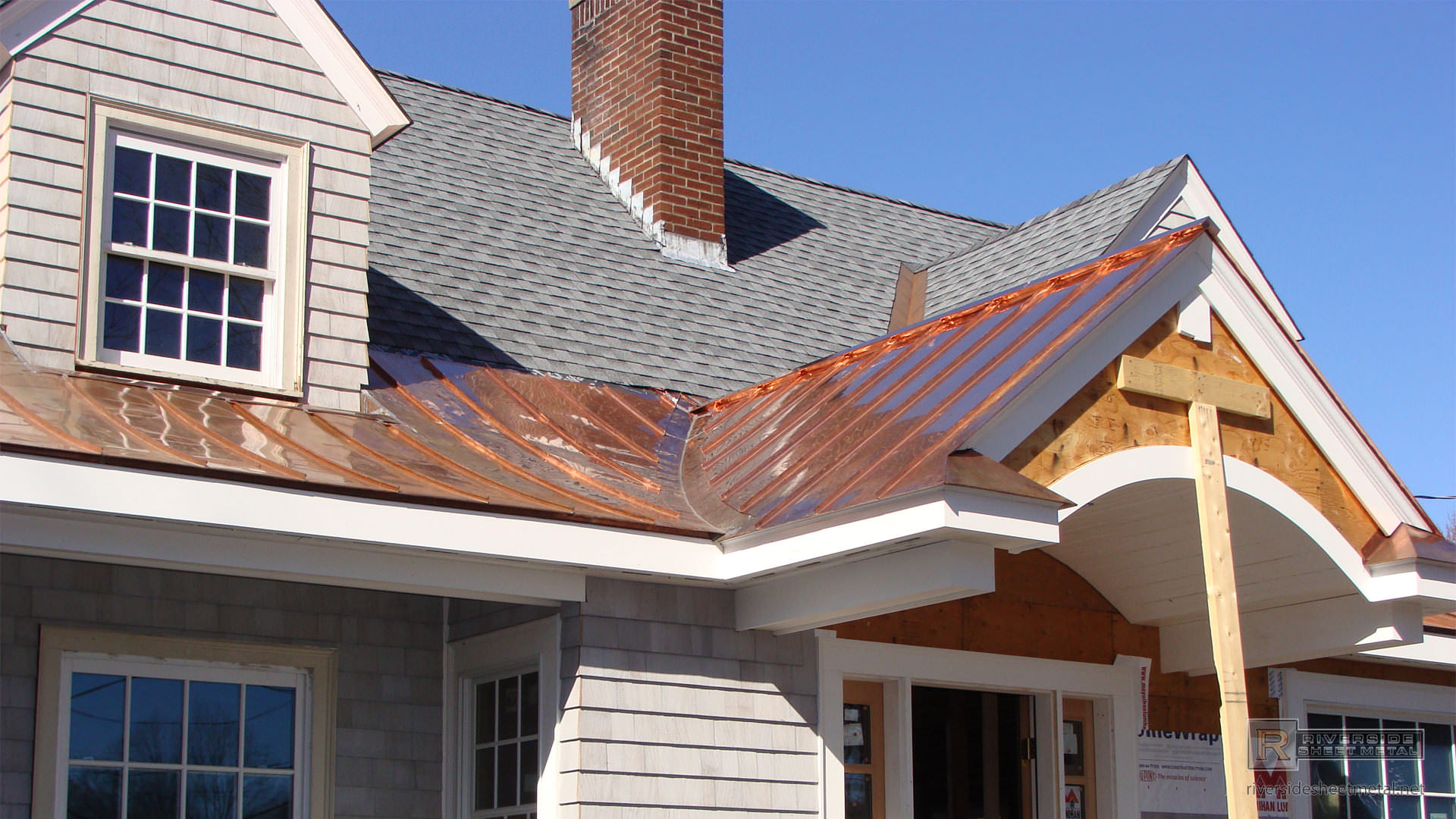 Radius Standing Seam Copper Roofing Installation Riverside