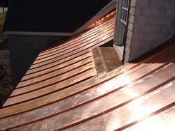 Radius copper metal roofing installation