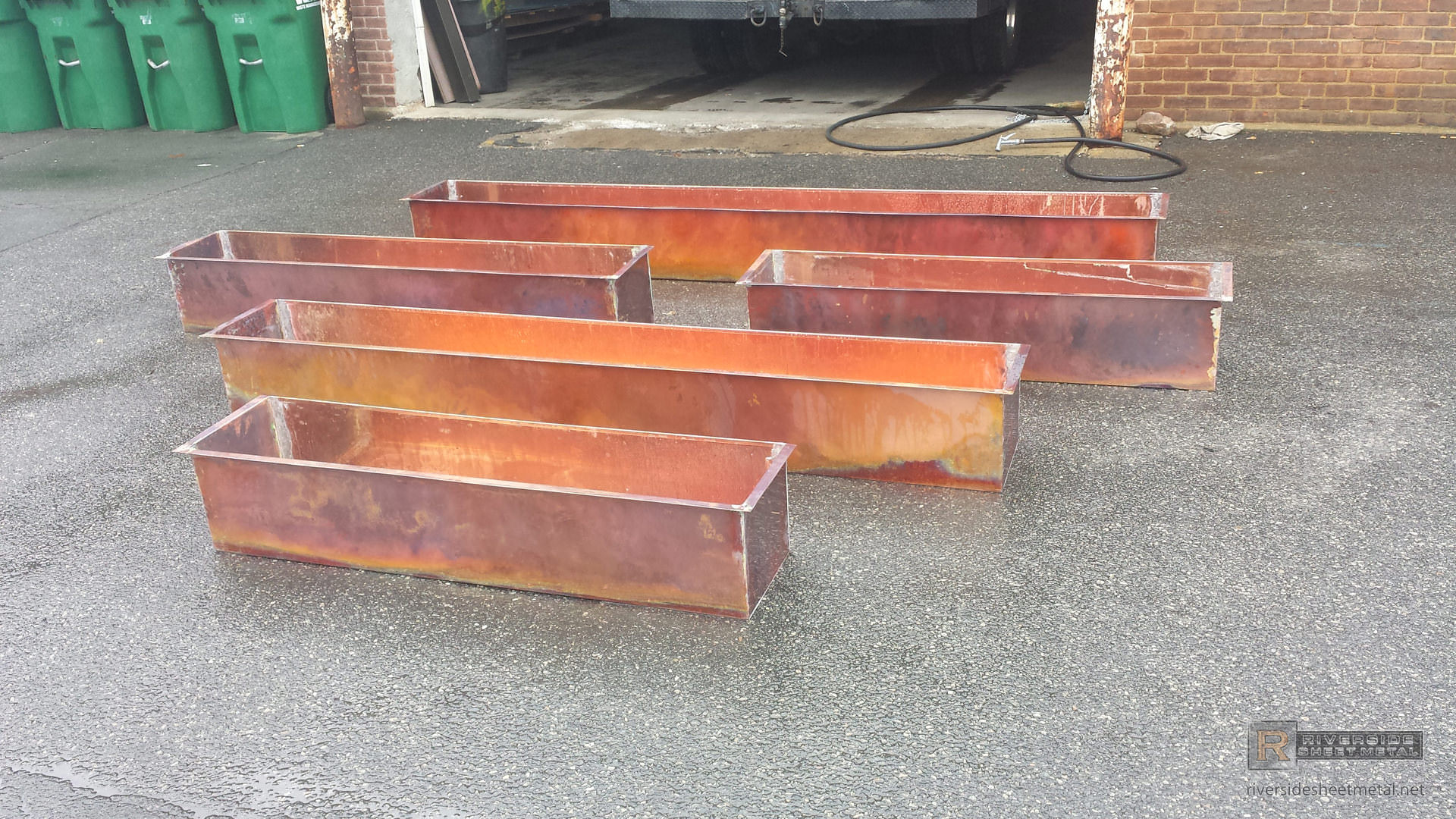 Custom Burnished Rustic Copper Flower Boxes Shipping