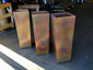 Burnished tapered custom copper planters - view 3