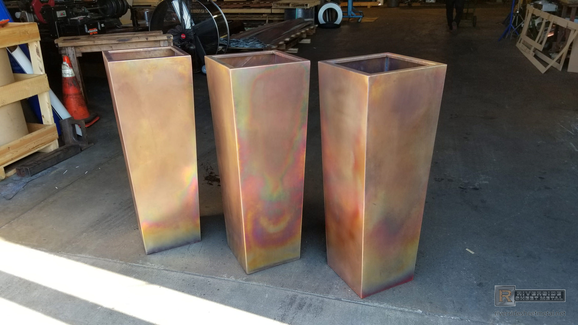 Burnished Tapered Custom Copper Planters