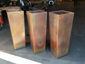 Burnished tapered custom copper planters - view 4