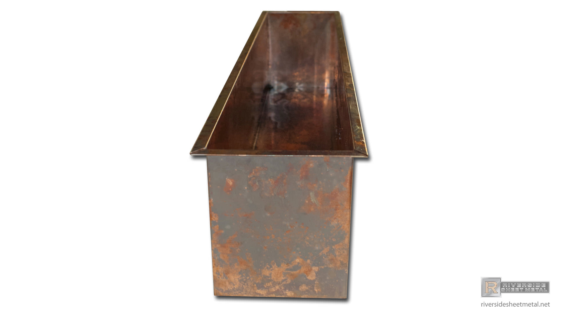 Burnished Copper Planter With Flanges Shipping Available