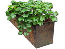 Burnished copper planter in fabrication