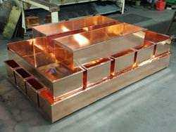 Copper planters with flanges custom built