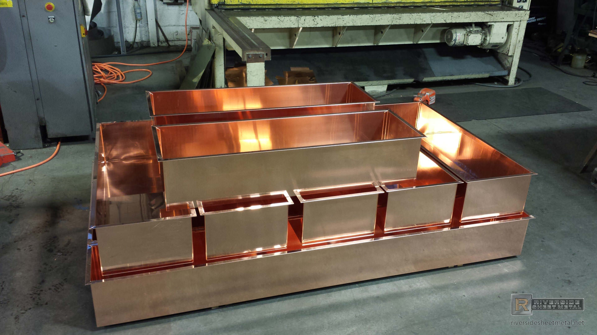 Copper Planters With Flanges Custom Built Boston Ma