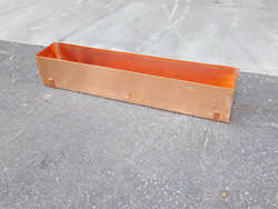 Copper window planter box with brackets