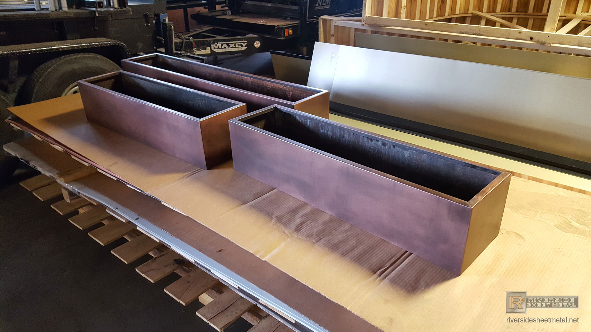 Custom Copper Flower Boxes With Dark Patina Finish