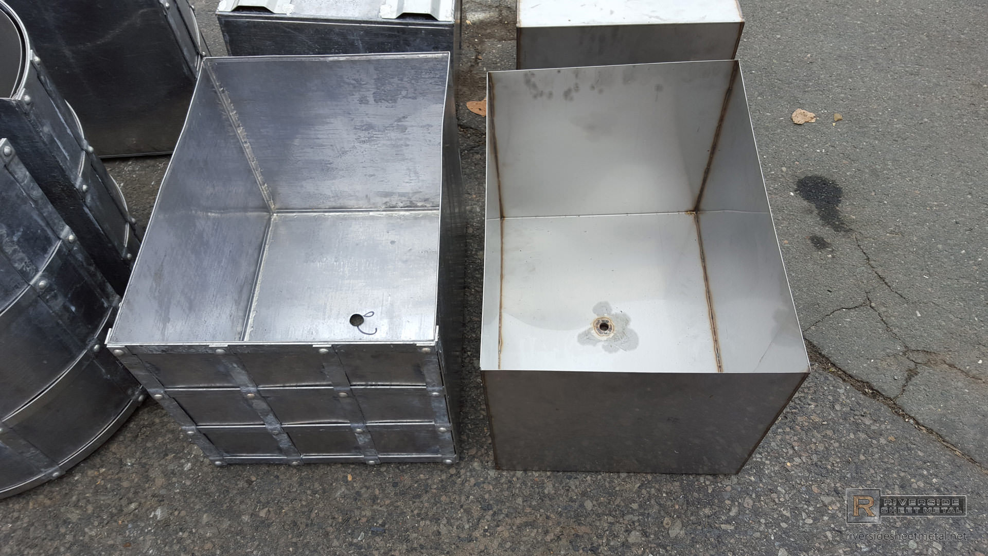 Custom Darkened Lead Coated Copper Planters With Grate And
