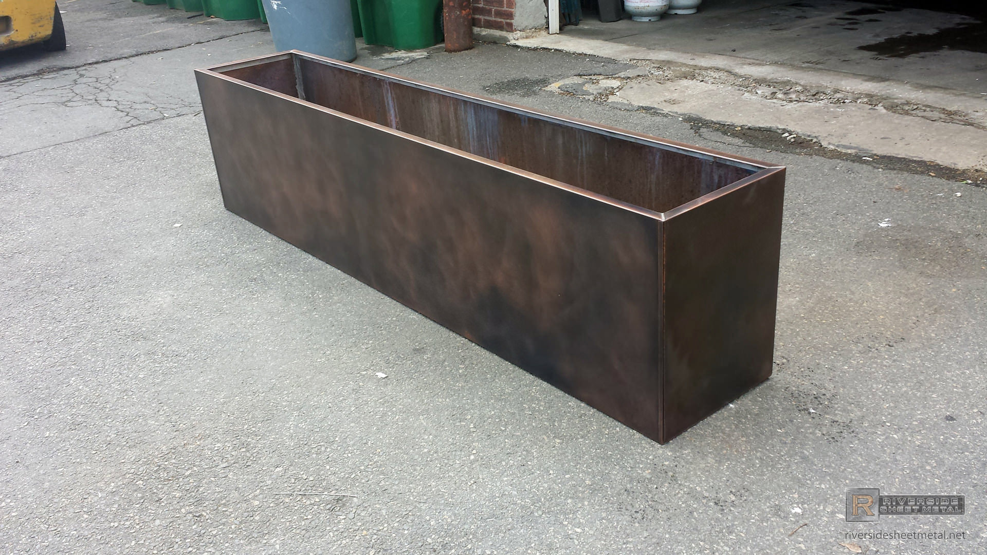 Custom Copper Flower Box With Dark Patina Finish