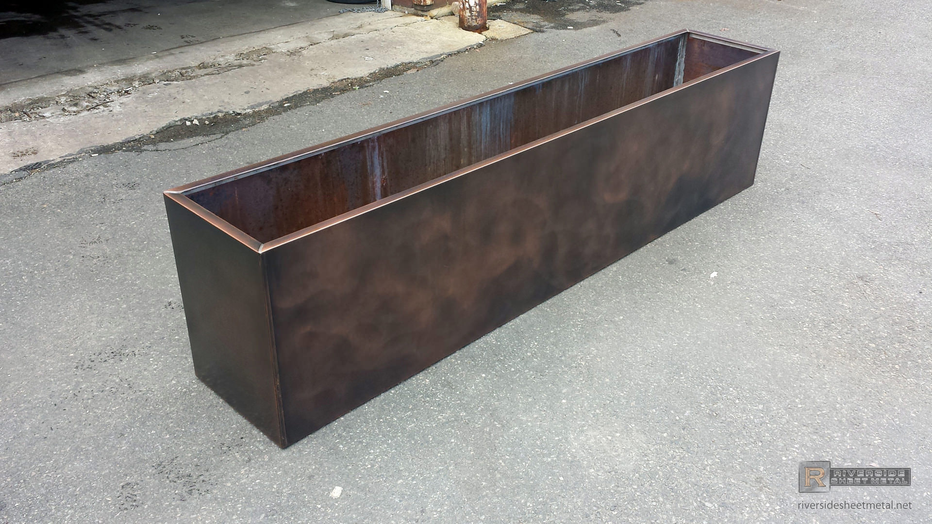 Rectangular Flower Box With Custom Dark Patina Finish
