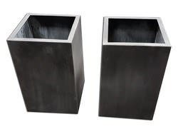 Darkened custom zinc planters
