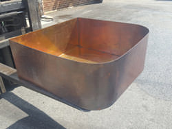 Hammered copper planter burnished