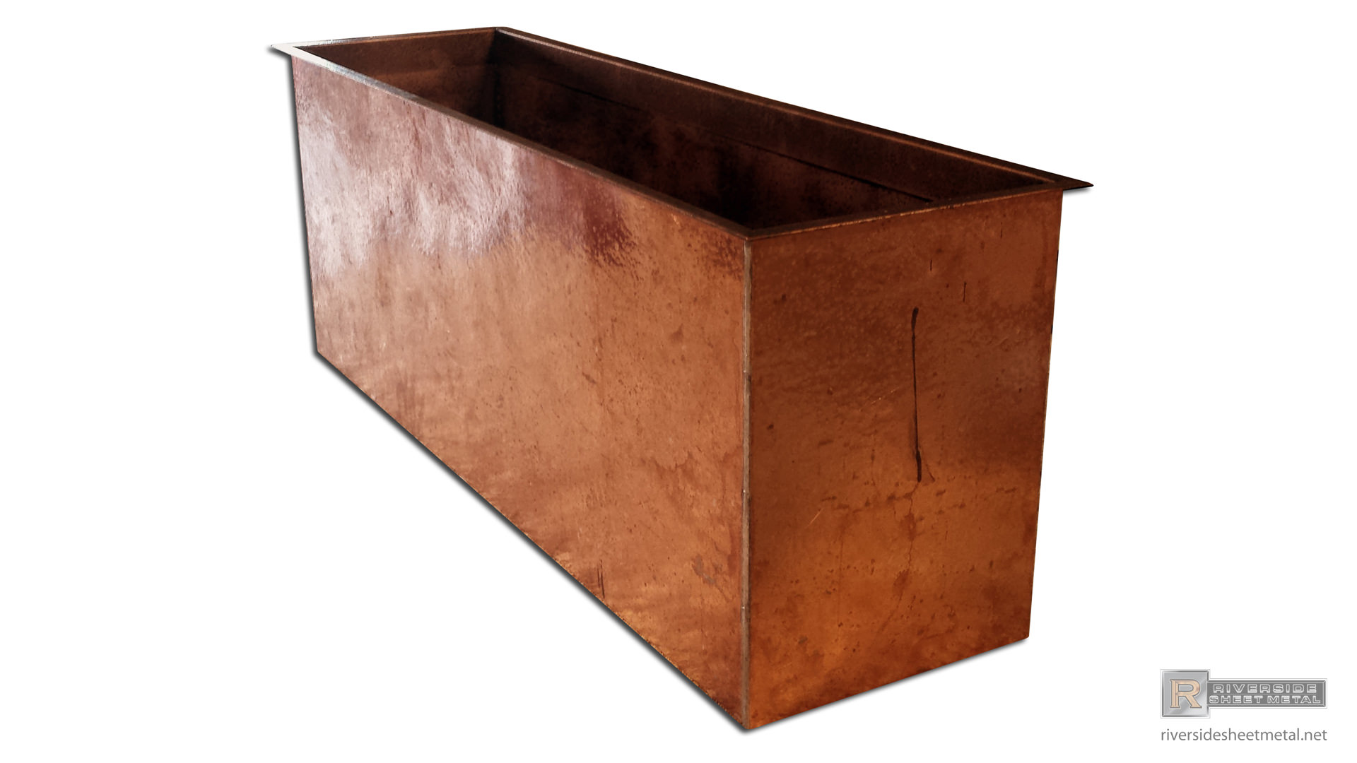 Hand Hammered Copper Planter Flower Box Riverside