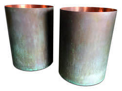 Pre-patina green copper planters