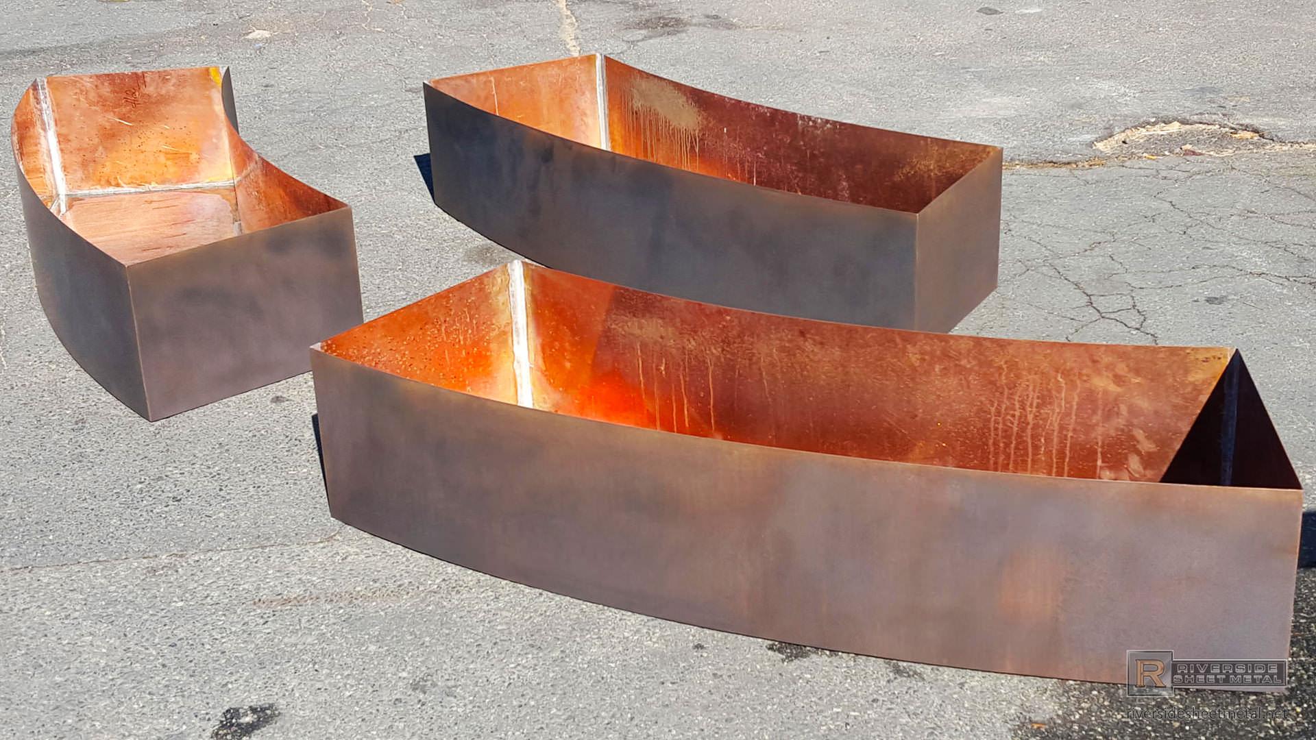 Radius Copper Planters Darkened Made To Fit Around A Fountain