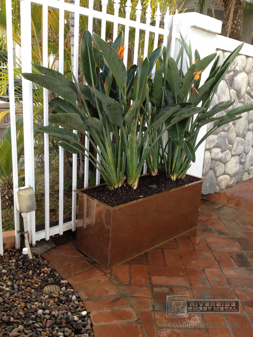 Rectangular Copper Planter With Flanges Flower Box