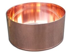 Custom copper insert with flanges made for wooden planter