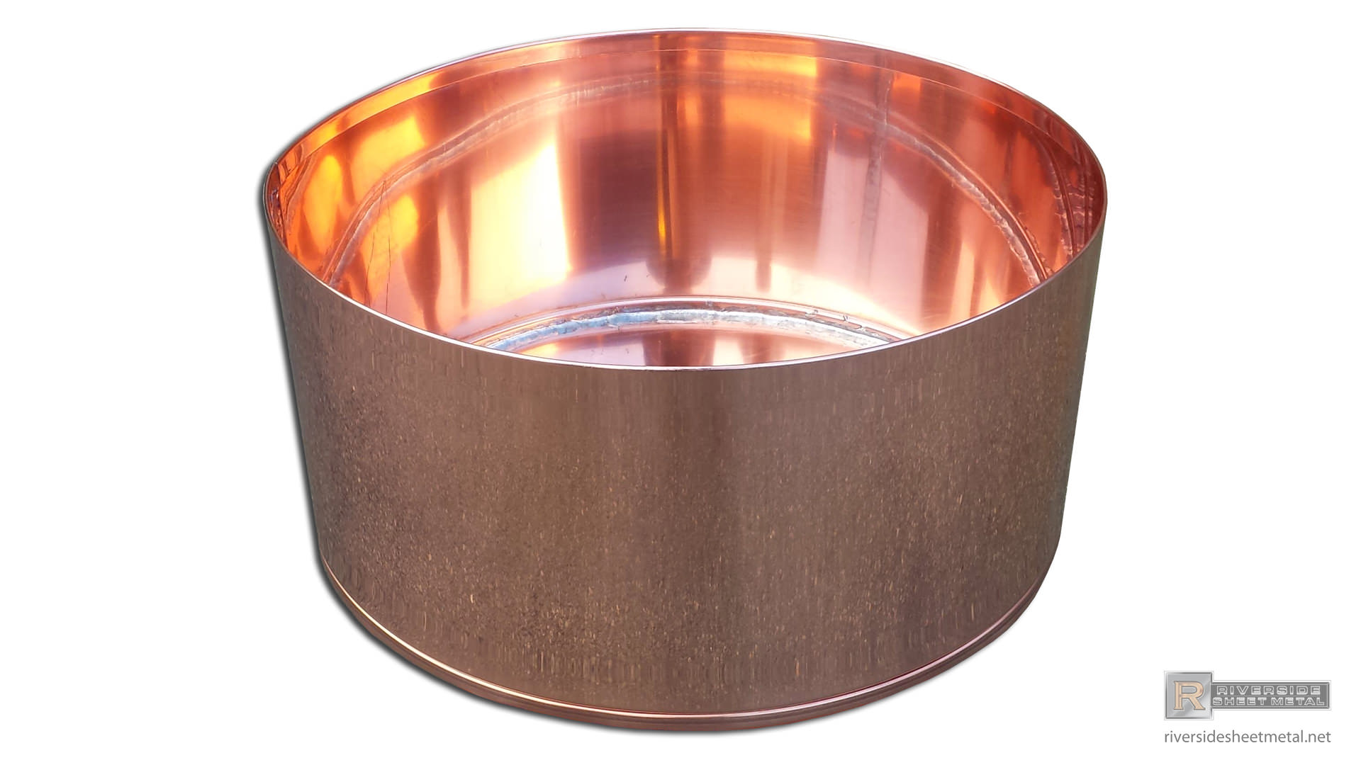 Round Copper Planter With Hemmed Edge Natural Finish