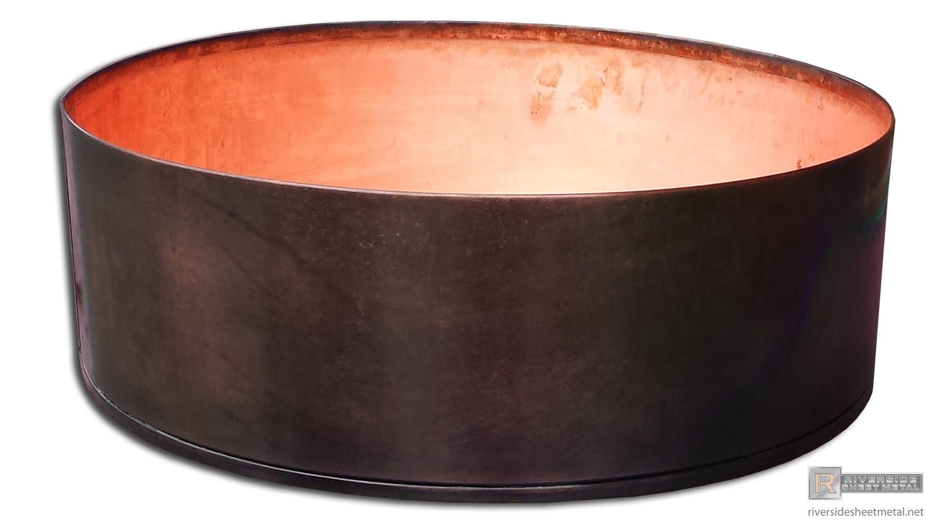 Round Copper Planter With Dark Patina Pre Weathered Finish