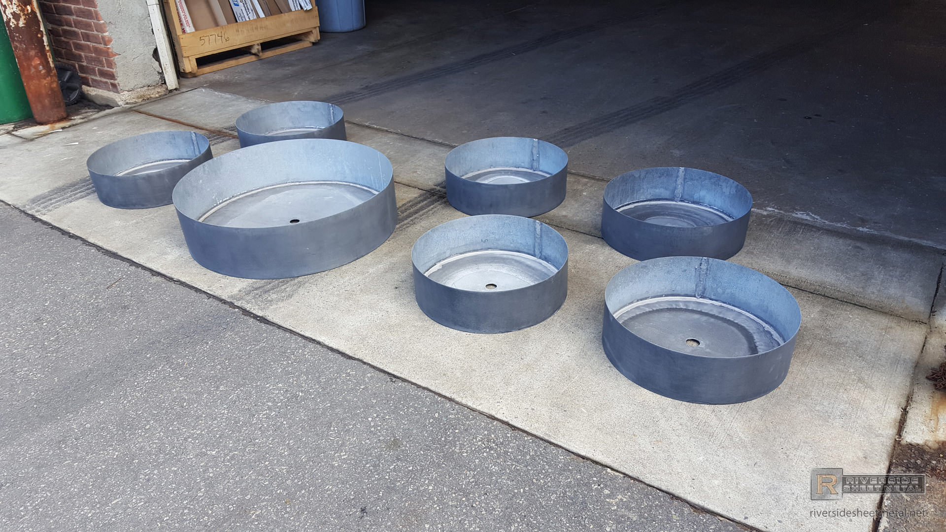 Round Zinc Planters Custom Made With Dark Patina Finish