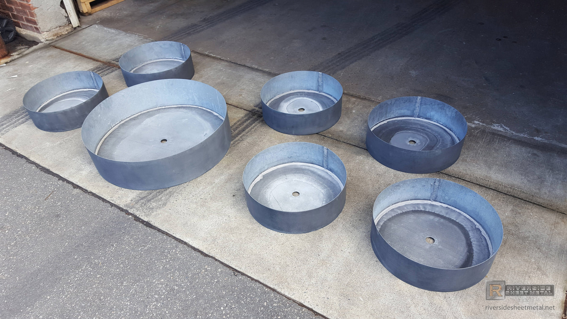 Round Zinc Planters Custom Made With Dark Patina Finish