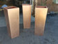 Satin finished tapered custom copper planters (prior to being burnished) - view 1