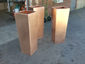 Satin finished tapered custom copper planters (prior to being burnished) - view 2